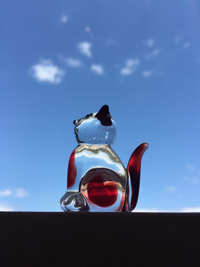 猫ガラス置物♪